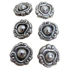 William Spratling Sterling Buttons Set of Six 1944-46 Hallmark