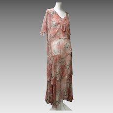 1930s Floral Printed Silk Chiffon Gown Ruffles Shawl Collar