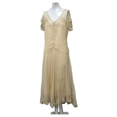 1920s Art Deco Silk Chiffon Day Dress Ribbon Flowers At Sleeves