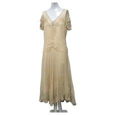 1920s Dress Art Deco Silk Chiffon Ribbon Flowers