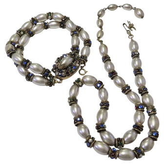 Miriam Haskell Pearls & Colored Rhinestones Necklace & Bracelet Set