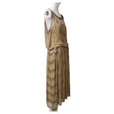 1920s Silk Chiffon Flapper Dress Art Deco Colored Glass Beads Decorations Metallic Silk Ribbons