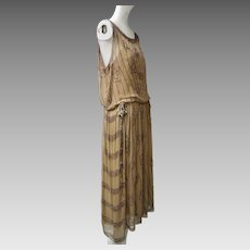 1920s Silk Chiffon Flapper Dress Art Deco Colored Glass Beads Decorations Metallic Silk Ribbons