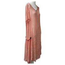 Art Deco 1920s Dress Coral Color Flapper Rhinestones