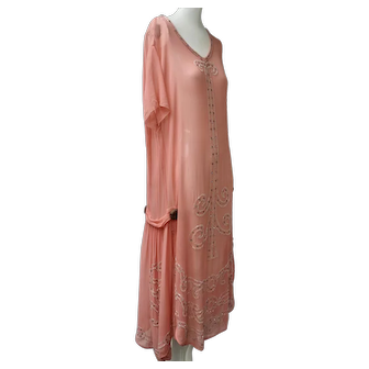 Art Deco 1920s Dress Coral Color Flapper Rhinestone Studded & Glass Beaded Silk Chiffon