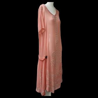Art Deco 1920s Dress Coral Color Flapper Rhinestone Studded & Glass Beaded Silk Chiffon
