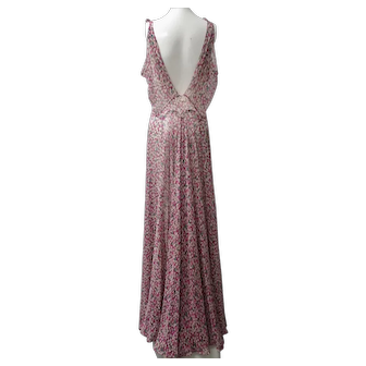 1930s Silk Chiffon Gown Art Deco Confetti Print Generous Large Size