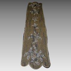 Glass Beaded 1920s Shawl Silk Chiffon Extra Long Roses & Leaves Art Deco