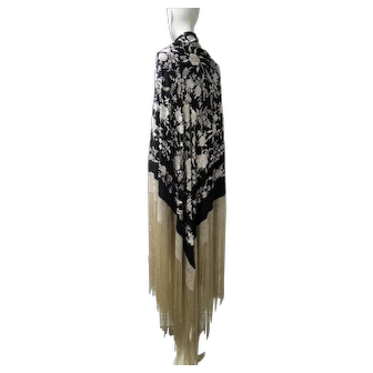 Chinese Canton Silk Cabbage Roses Shawl Black Ground Long Fringe