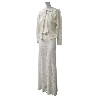 1930s White Lace Evening Gown & Jacket Floor Length Long Sleeves