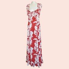 1940s Hawaii Kamehameha Evening Gown Dress Signature Print Fabric