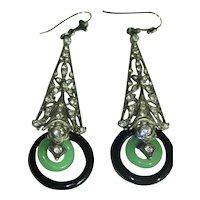 Art Deco Earrings Sterling Paste Jade Onyx Gold Wires