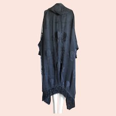 Art Deco Cocoon Coat Bat Wing 1920s Silk Fringed Embroidered Tassels