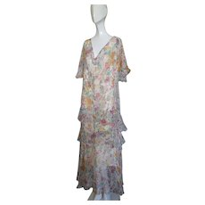 1930s Gown Silk Chiffon Floral Ruffles Mint