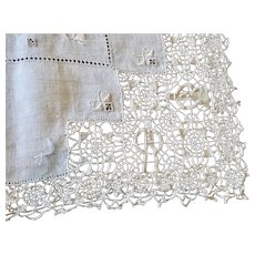 Antique Linen and Italian Reticella Needle Lace Decorated Tablecloth