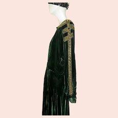 1920s Couture Dress Silk Velvet Art Deco Emerald Green Metal Studs