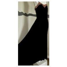 Silk Velvet 1930s Gown floor Length Spaghetti Straps Beaded