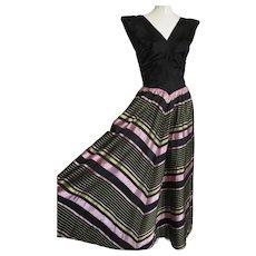 1940s Ball Gown Silk Taffeta Floor Length