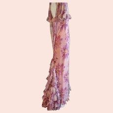 1920s Evening Gown Silk Chiffon Floral Ruffles