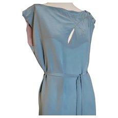 1920s Day Dress Silk Self Belt Side Buttons