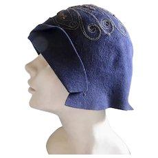 1920s Cloche Hat Metal Thread Decorations Helmet Style Navy