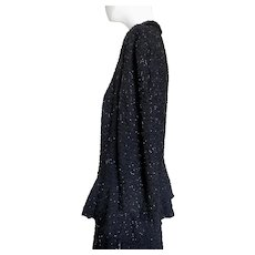 1940s Beaded Evening Suit Jacket & Skirt Peplum