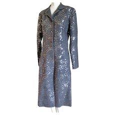 1980s Designer LOTTA Wool Coat Studded With Sequins