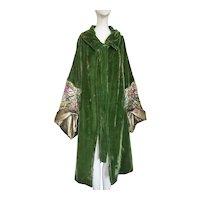 1920s Coat Gold Lame Cocoon Silk Velvet