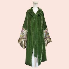 1920s Coat Gold Lame Cocoon Silk Velvet