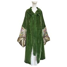 1920s Gold Lame Coat Cape Silk Velvet