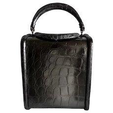 Vintage 1950s Black Alligator Bucket Purse