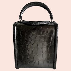 Vintage 1950s Black Alligator Bucket Purse