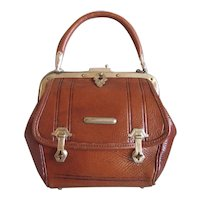 Antique English Purse Victorian Mini Satchel Handbag Leather