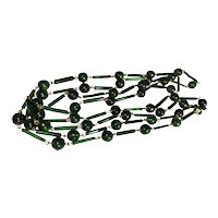 Antique Art Deco Czech Beads Glass Tubes & Rounds Emerald Green