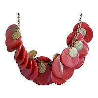 Red Bakelite Necklace Circle Discs Gold Tone Accents 1930