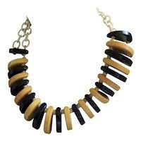 Vintage 1930s Bakelite Necklace Gold & Black Celluloid Chain