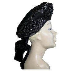 1940s Couture Hat Tam Jeweled Fur Felt New York
