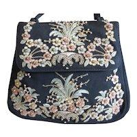 1950s Embroidered & Beaded Purse Evening Handbag