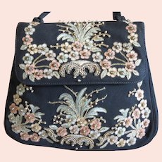 1950s Embroidered & Beaded Purse Evening Handbag