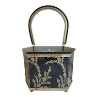 Vintage Black Lucite Purse Gold Tone Designs Box Style