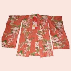 Vintage 1930s Kimono Silk Japanese Floral Knee Length