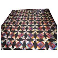 "Antique Silk Quilt Log Cabin Variation 90"" By 80"""
