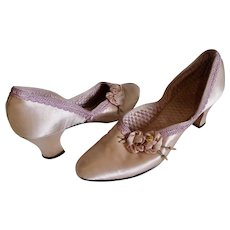 1920s Lady's Boudoir Slippers Shoes Silk With Flowers