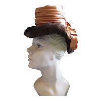 "1940s ""Tippy"" Hat Satin, Mink & Rhinestones Couture"