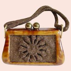 1940s Box Purse Bakelite Bronze Beads