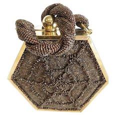 1940s Box Purse Hexagonal Shape Bronze Carnival Glass Beads