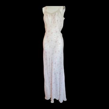 Vintage 1930s Silk Nightgown & Robe Peignoir Set