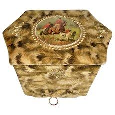 Victorian Collar Box With Drawer Scenic Velvet Silk 1880