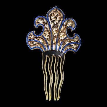 1920s Hair Comb Art Deco Mantilla Fleur-de-lis
