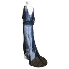 1930s Lace Evening Gown Long Train